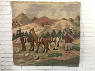 Tapeçaria Peru Parede Com Madeira Pendurar Linda Llamas