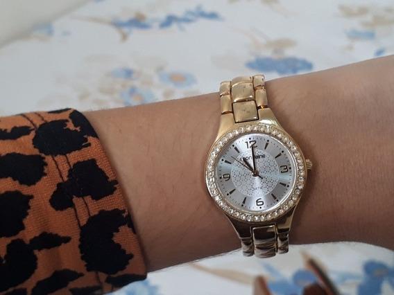 Relógio E Colar Folhado