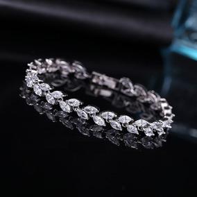 Pulseira Bracelete Prata Com Zircônia Noiva Debutante