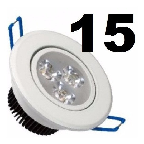 15 Spot Branco Led Luz Branca Direcionável 3w Teto Sanca