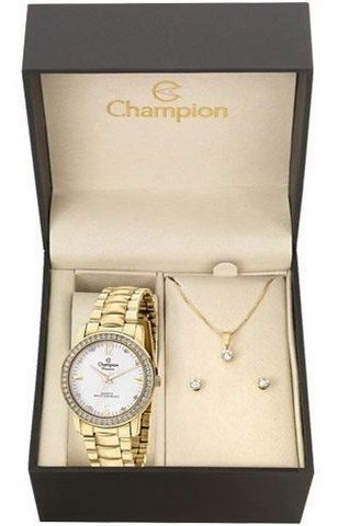 Kit Relógio Champion Feminino Com Colar E Brincos Cn28599w