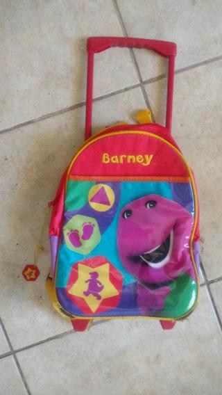 Mochila Con Carrito Barney 12 Pulg Ideal Jardín O Preescolar
