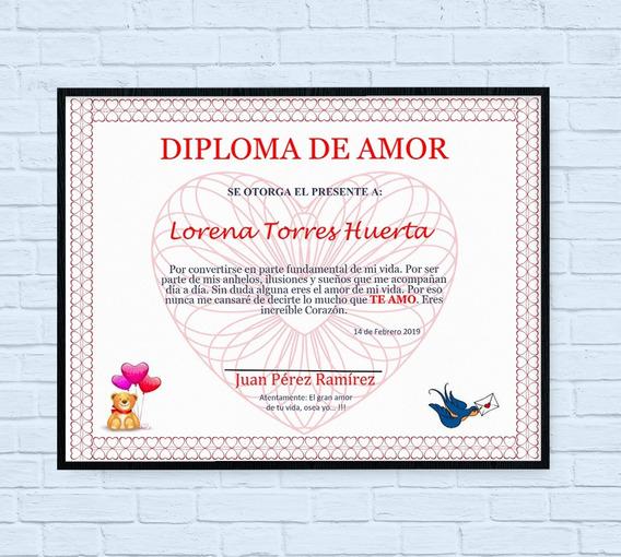 Plantilla Diploma De Amor. Detalle San Valentín. Editable.