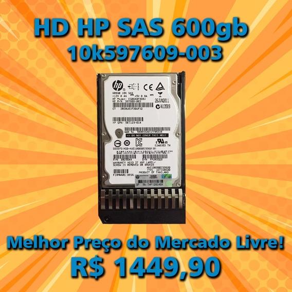 Hd Sas 600gb 10k 2.5 6g Hp Pn 597609-003 Gaveta Geração 8 9