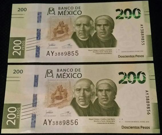2 Billetes 200 Pesos Nuevos Sin Circular Serie A Consecutivo