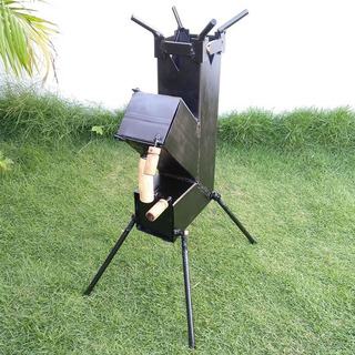 Fogão Portatil Lenha Desmontavel Completo Rocket Stove Plus