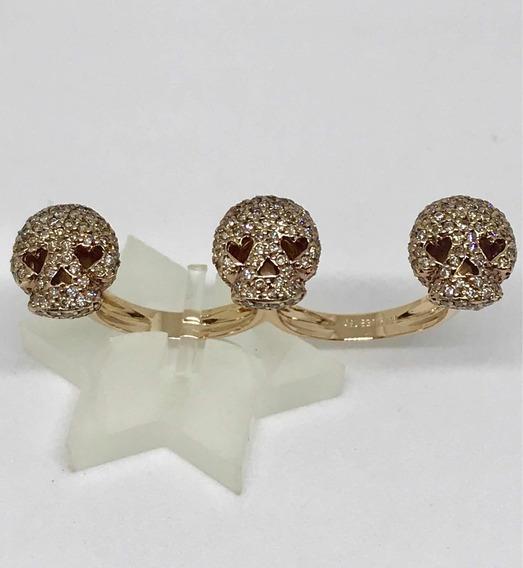 Glitter Anel Fr Hueb Caveira Dois Dedos Ouro E Diamantes