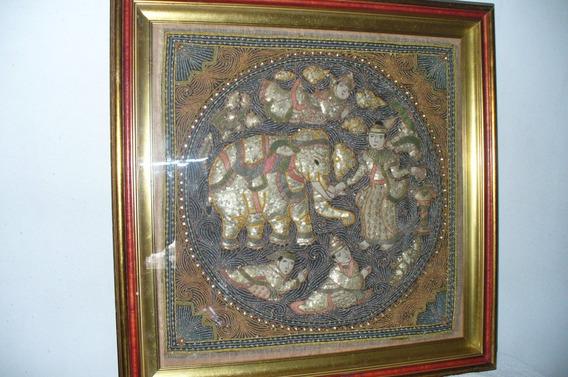 Cuadro Elefante Hindu , Hermoso Trabajo Bajo Relieve 2