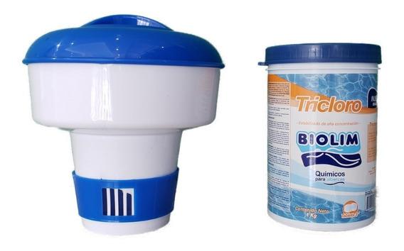 Kit Dosificador De Cloro Flotante + 1kg De Pastillas De 3