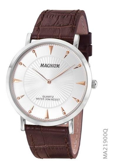 Relógio Social Masculino Magnum Slim Ma21900q Prata