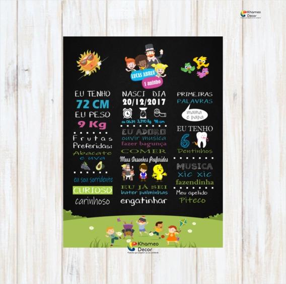 Placa Decorativa 1 Aninho Com Dados Da Criança 30x40 Cm