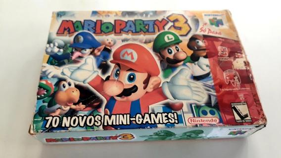 Jogo N64 Mario Party 3 C/ Caixa, Berço E Manual