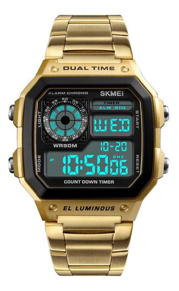 Skmei Esporte Homens Relgio Aco Inoxidvel 5atm Watch Dourado