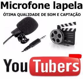 Microfone Lapela Camera Pc Com Fio Youtuber + Adap Smart