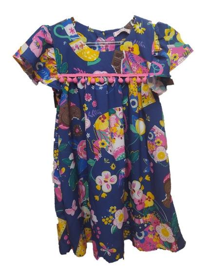 Vestido Infantil Mon Sucré Florido Com Bolsa Flowers 048