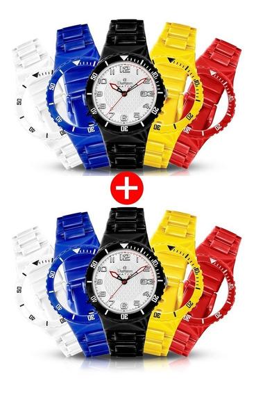 Kit 2x Relógio Troca Pulseira 5 Pulseiras Coloridas + Brinde