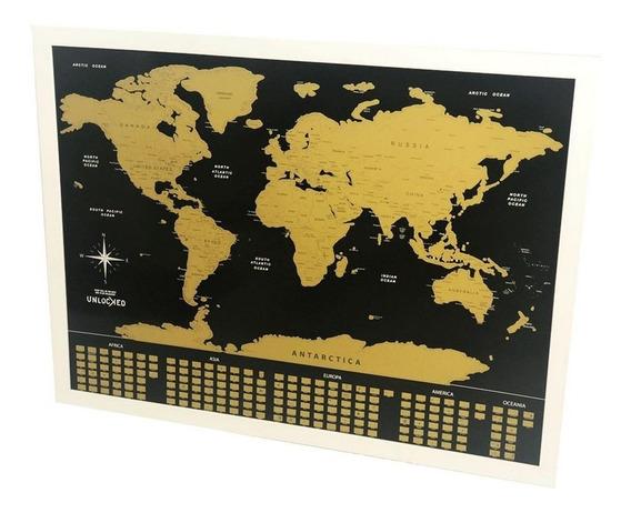 Mapa De Raspar Mundi Raspadinha - Preto E Dourado