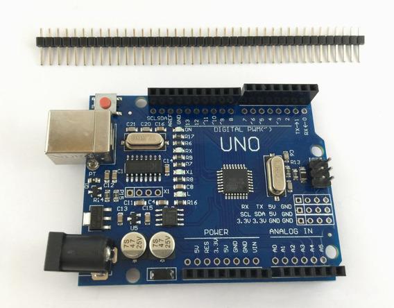 Arduino Uno R3 Atmega328p + Pinos Sem Cabo Usb