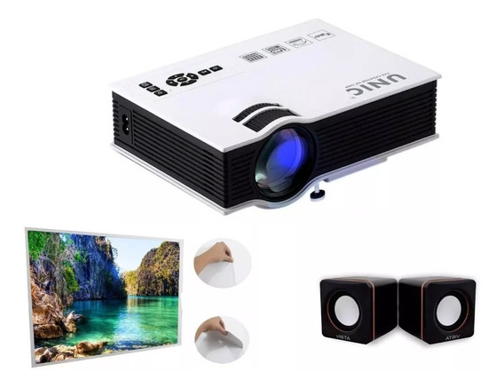 Kit Projetor Wifi 1200 Lúmens + Tela De Projeção + Caixa Som