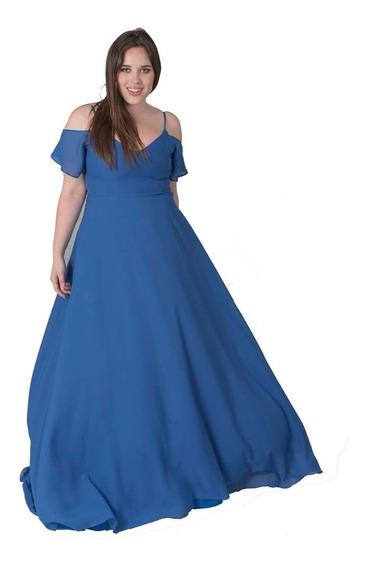 Vestido Largo Fiesta Azul Xl Talles Grandes Somos Fabrica