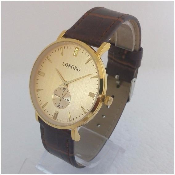 Relógio Feminino Longbo Original Pulseira Couro Luxo Vip