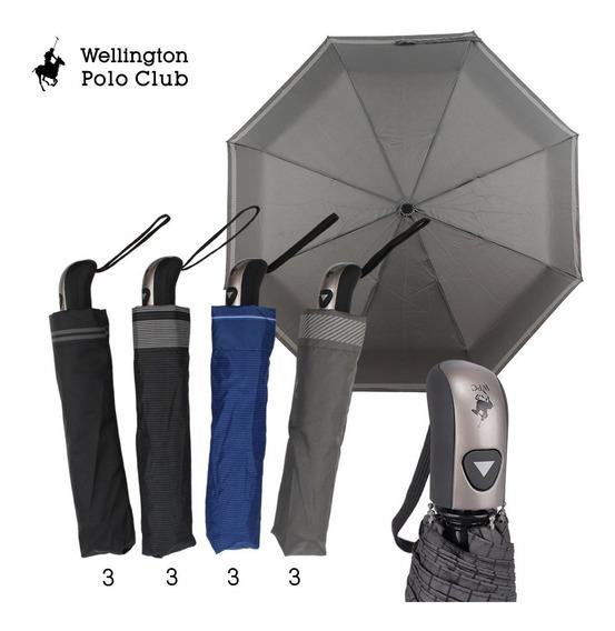 Paraguas Mini Automático Polo Club Wellington Liso Art. 6155