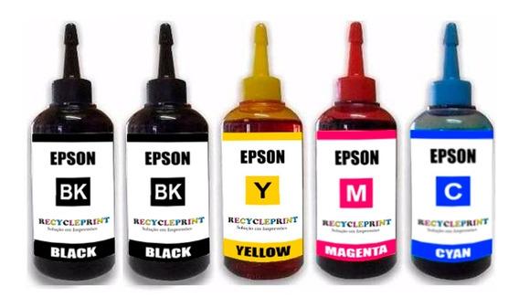 Kit 500ml Refil Tinta Impressora Epson L375 L395 L3110 L3150