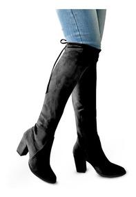Botas Largas Mujer Tacon 8 Altas Abajo Rodilla 2045 Negro