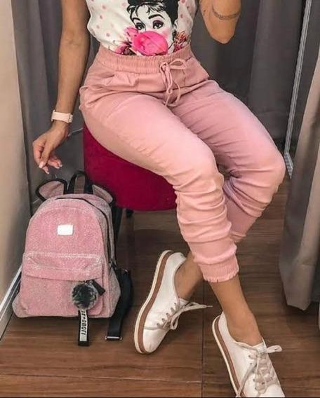 Calça Feminina Jogger Bengaline Bolso Cordão Blogueiras Moda