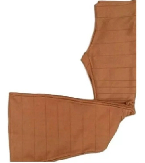 Calça Bandagem Grossa Cintura Alta Flare Feminina Inverno