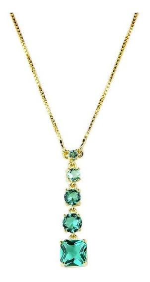 Cordão Com Pedras Verdes De Zircônias Folheado A Ouro 18k