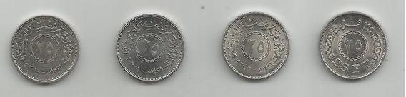 Lote De 3 Monedas Egipto 25p 2008, 2010 Y 2012 ¡oferta!