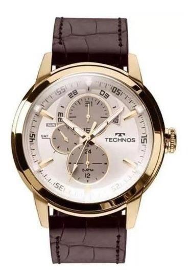 Relógio Technos Masculino Pulseira De Couro Grandtech Ref. - 6p57ac/2c Dourado