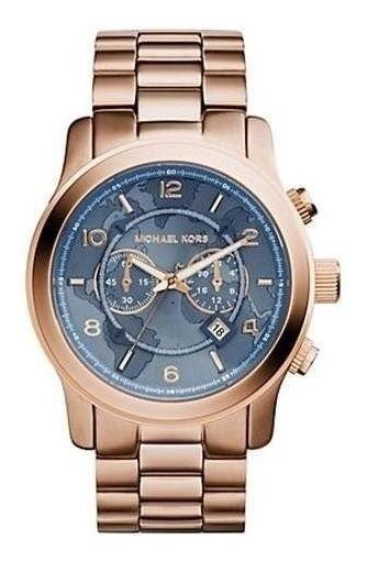 Relógio Michael Kors Mk8358 Rose Com Azul Jeans