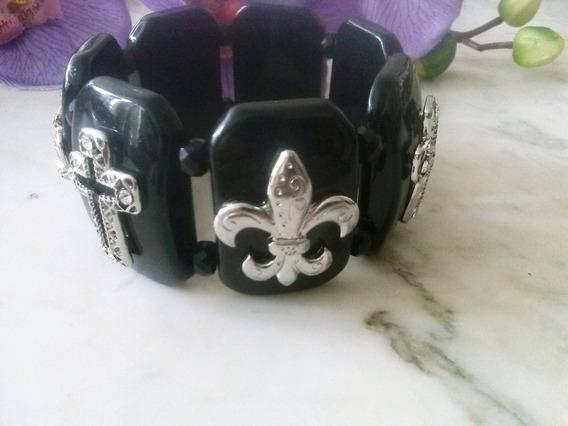 Pulseira Bracelete Flor Lis Crucifixo Coroa Gotico Vitoriano