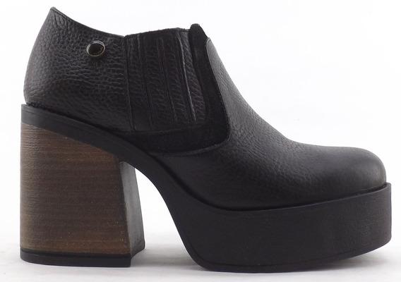 Zapato Plataforma Viamo Bahiana Botineta Cuero Comoda Promo