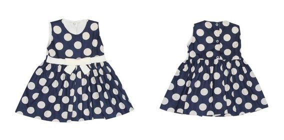 Vestido Infantil Menina Azul Marinho De Bolinha