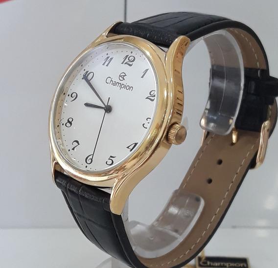 Relógio Social Champion Ch22233m Dourado Pulseira De Couro
