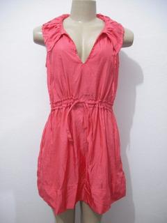 Vestido Tafeta Rosa Tam M Curto Usado Bom Estado