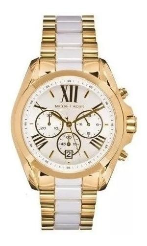 Relógio Mk5743 Bradshaw Dourado Branco Oriinal