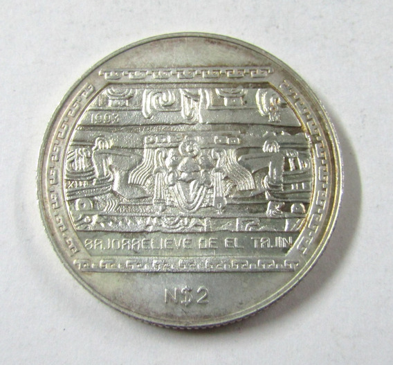 Moneda De Mexico 2 Nuevos Pesos 1993 Plata Cultura Maya