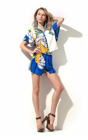 Shorts Linho Estampado Morena Rosa Ref:105381