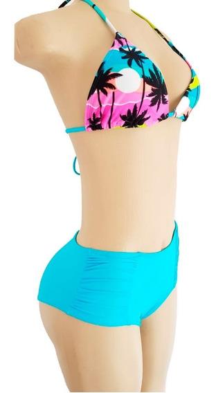 Biquíni Shorts Cintura Alta Plus Size Cortininha Sem Bojo