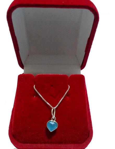 Correntinha Ponto De Luz De Prata 925 Pedra Azul Bebê Lind