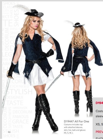 Disfraz Mujer Sexy Mosquetero Delicious Halloween Adulto L