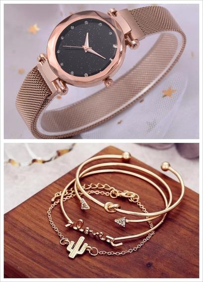Relógio Feminino Dourado Pulseira Magnética + Braceletes