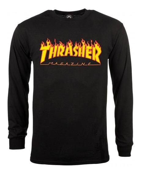 Playera Thrasher Flame Logo Black Long Sleeve