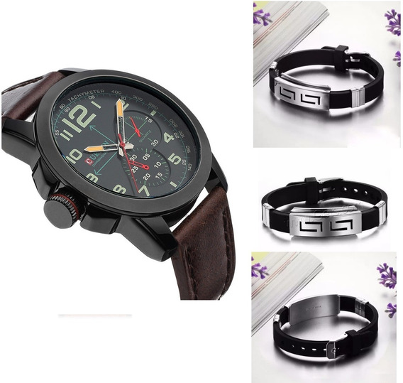 Relógio Quartz Masculino Cromo Preto Curren Gratis Pulseira