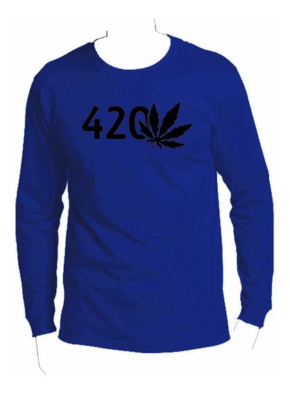 Playera Manga Larga Smoke Weed 420!