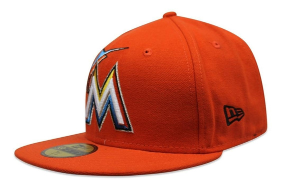 Gorra New Era 5950 Mlb Marlins Miami Road Naranja